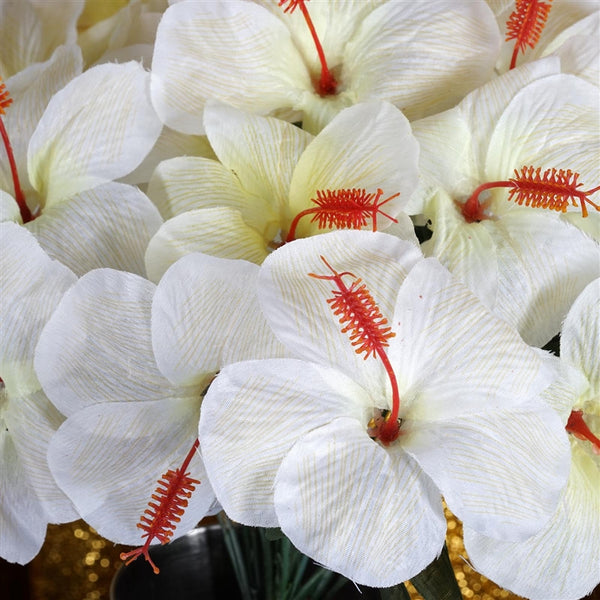 Hibiscus Bush Artificial Silk Flowers - Cream
