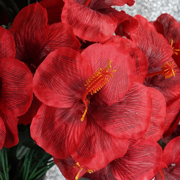 Hibiscus Bush Artificial Silk Flowers - Red