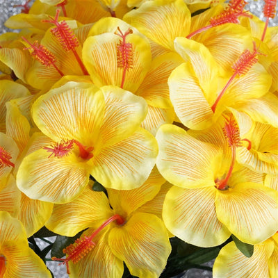 Hibiscus Bush Artificial Silk Flowers - Yellow