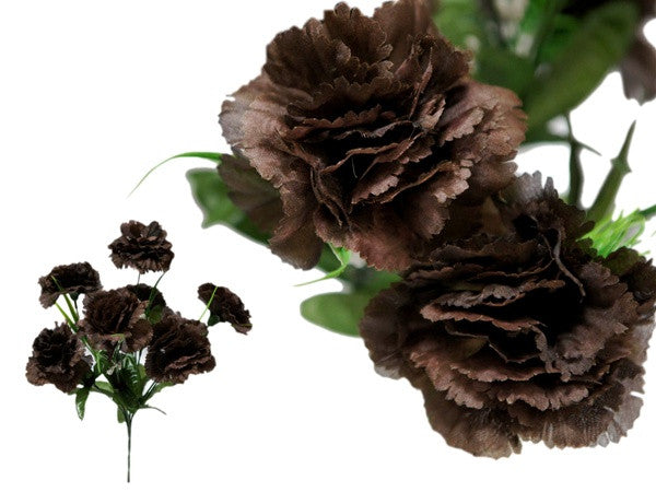 Small Carnation Bush Artificial Silk Flowers - Chocolate