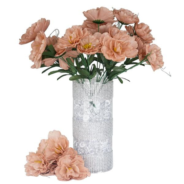 Small Peony Bush Artificial Silk Flowers - Blush