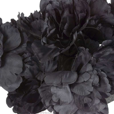 Small Peony Bush Artificial Silk Flowers - Black
