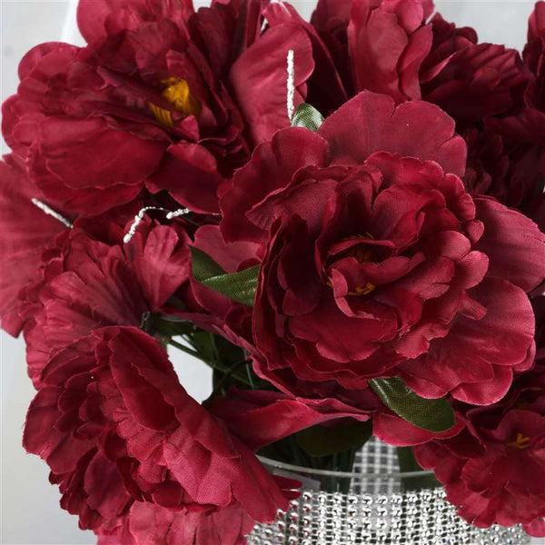 Small Peony Bush Artificial Silk Flowers - Burgundy