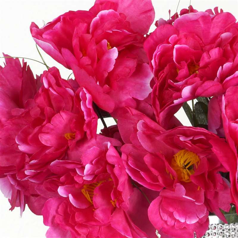 60 Wholesale Artificial Bridal Bouquet Peony Silk Flowers Home Wedding Party Décor - Fushia