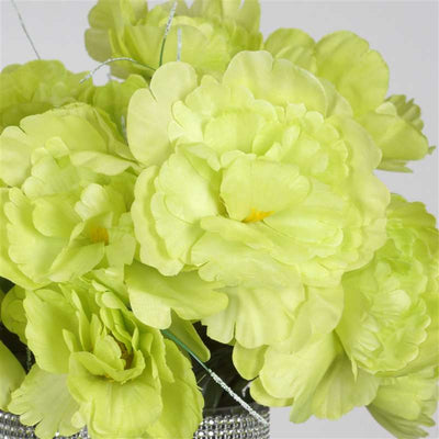 Small Peony Bush Artificial Silk Flowers - Lime Green