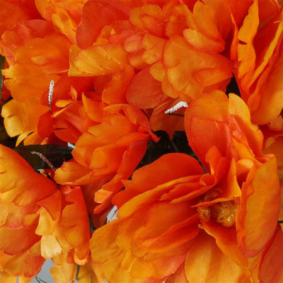 Small Peony Bush Artificial Silk Flowers - Orange