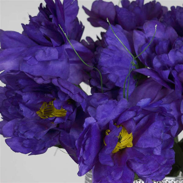 Small Peony Bush Artificial Silk Flowers - Purple