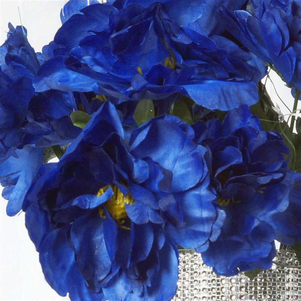 Small Peony Bush Artificial Silk Flowers - Royal Blue