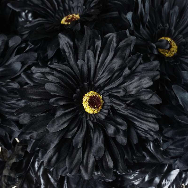Gerbera Daisy Bush Artificial Silk Flowers - Black