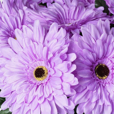 Gerbera Daisy Bush Artificial Silk Flowers - Lavender