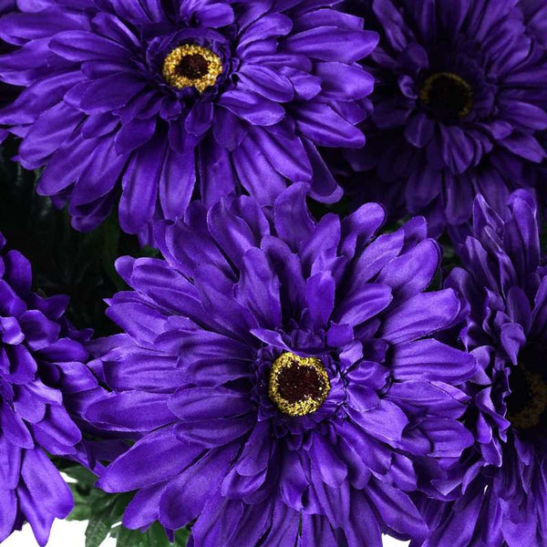 Gerbera Daisy Bush Artificial Silk Flowers - Purple