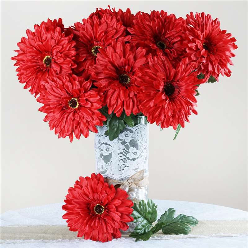 28 gerbera daisy flowers bush wedding vase centerpiece decor red 28 gerbera daisy bush red mightylinksfo Choice Image