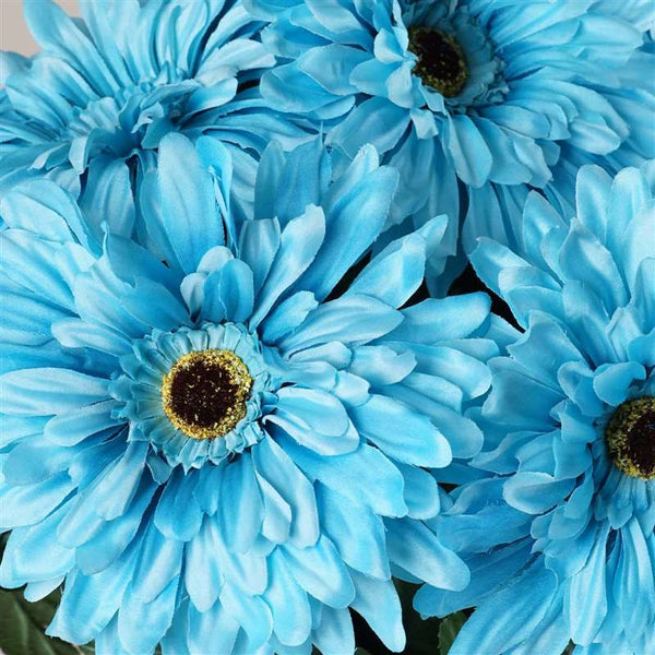 Gerbera Daisy Bush Artificial Silk Flowers - Turquoise