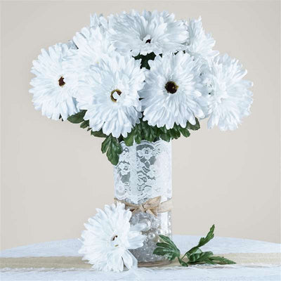 28 Gerbera Daisy Bush-White