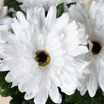 Gerbera Daisy Bush Artificial Silk Flowers - White