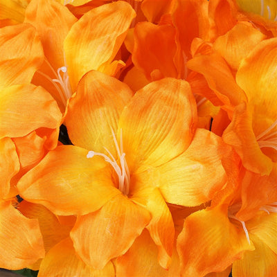 Eastern Lily Bush Artificial Silk Flowers - Orange