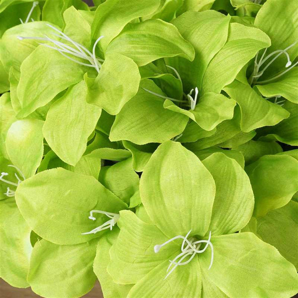 Eastern Lily Bush Artificial Silk Flowers - Sage Green