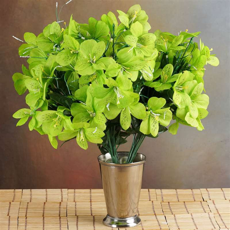 144 wholesale artificial silk amaryllis flowers wedding vase 144 silk amaryllis lime green mightylinksfo Images