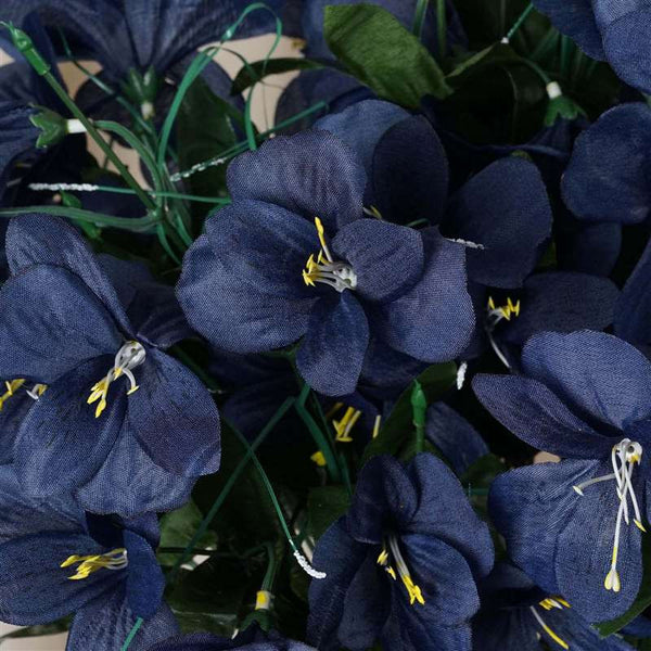 Amaryllis Bush Artificial Silk Flowers - Navy Blue