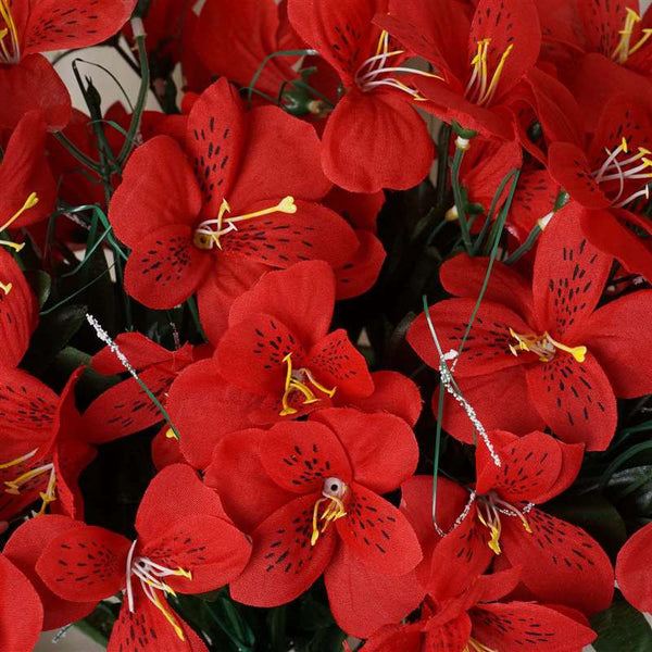 144 Wholesale Artificial Silk Amaryllis Flowers Wedding Vase Centerpiece Decor - Red