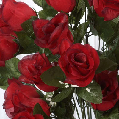 96 Artificial Black/Red Giant Rose Bud Flowers Wedding Bridal Bouquet Centerpiece Decoration