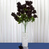 Long Stem Rose Bush Artificial Silk Flowers - Black
