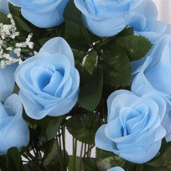 Long Stem Rose Bush Artificial Silk Flowers - Light Blue