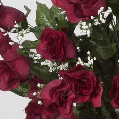 Long Stem Rose Bush Artificial Silk Flowers - Burgundy