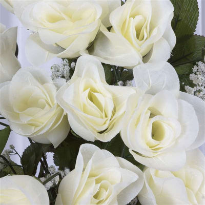 Long Stem Rose Bush Artificial Silk Flowers - Cream