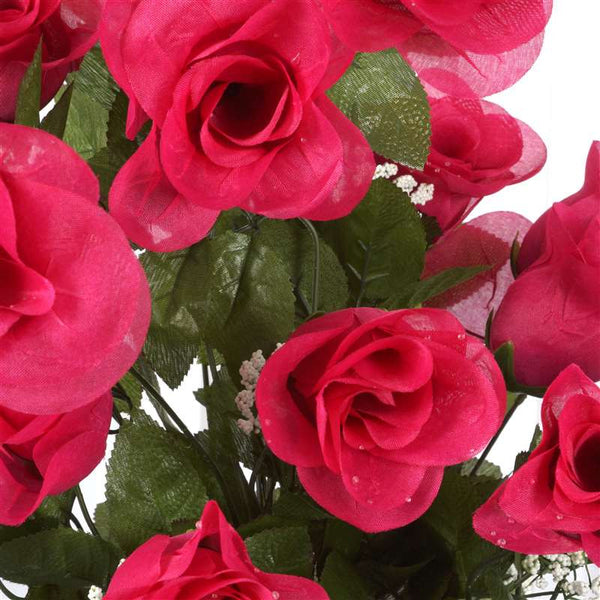 Long Stem Rose Bush Artificial Silk Flowers - Fuchsia