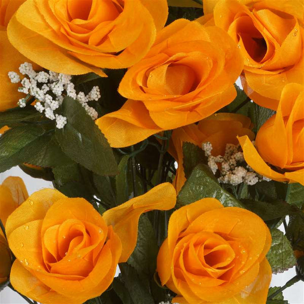 96 Artificial Orange Giant Rose Bud Flowers Wedding Bridal