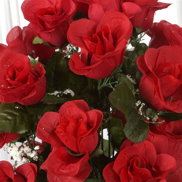 Long Stem Rose Bush Artificial Silk Flowers - Red