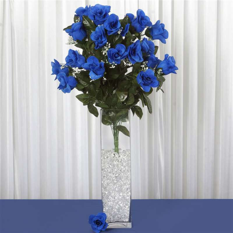 96 Artificial Royal Blue Giant Rose Bud Flowers Wedding Bridal ...