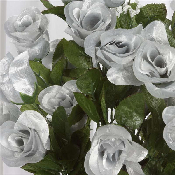 96 Artificial Silver Giant Rose Bud Flowers Wedding Bridal