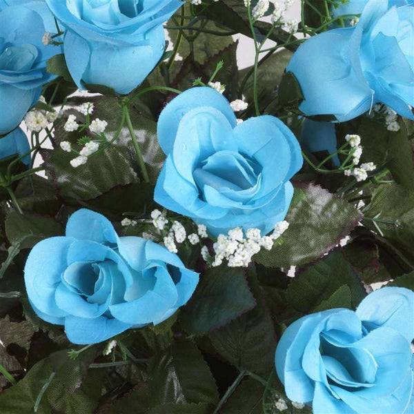 Long Stem Rose Bush Artificial Silk Flowers - Turquoise