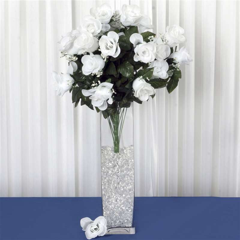 96 Artificial White Giant Rose Bud Flowers Wedding Bridal Bouquet ...