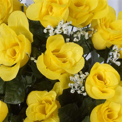 Long Stem Rose Bush Artificial Silk Flowers - Yellow