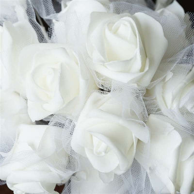 Craft Rose Bouquet Artificial Foam Flowers - White