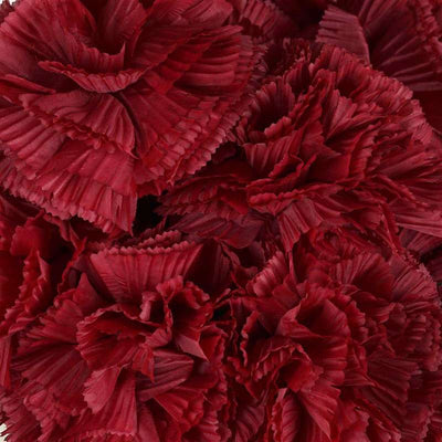 Large Carnation Bush Artificial Silk Flowers - Burgundy