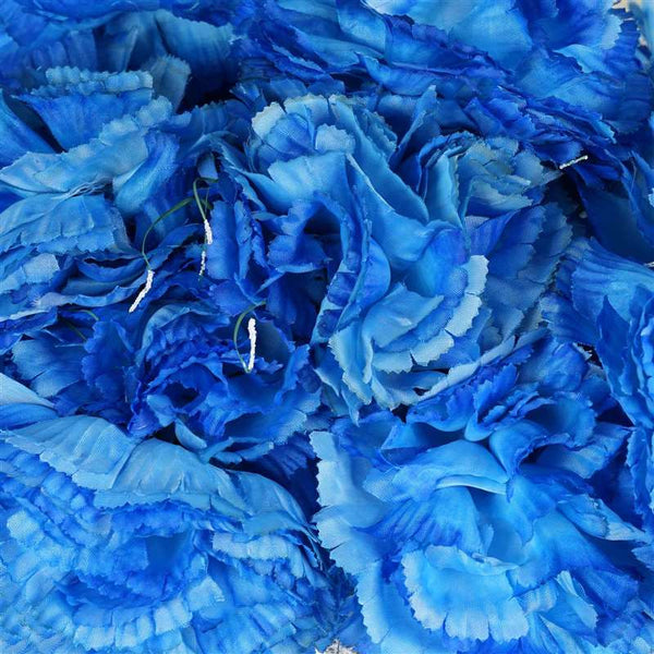 Large Carnation Bush Artificial Silk Flowers - New Blue