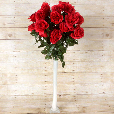 Large Open Rose Bush Artificial Silk Flowers - Black / Red