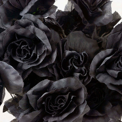 Large Open Rose Bush Artificial Silk Flowers - Black