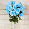 Large Open Rose Bush Artificial Silk Flowers - Light Blue