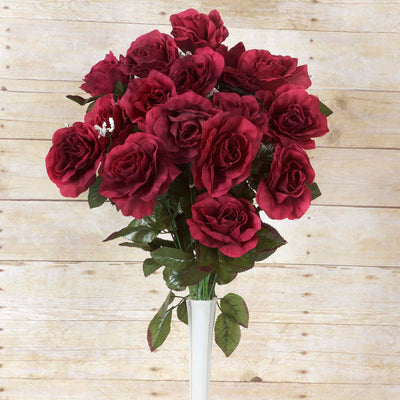 Large Open Rose Bush Artificial Silk Flowers - Burgundy