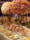 Large Open Rose Bush Artificial Silk Flowers - Champagne