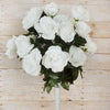 Large Open Rose Bush Artificial Silk Flowers - Cream