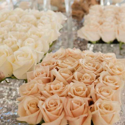 Large Open Rose Bush Artificial Silk Flowers - Coral / Cream