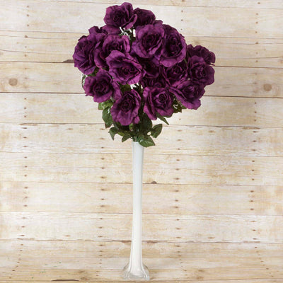 Large Open Rose Bush Artificial Silk Flowers - Eggplant