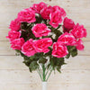 Large Open Rose Bush Artificial Silk Flowers - Fuchsia