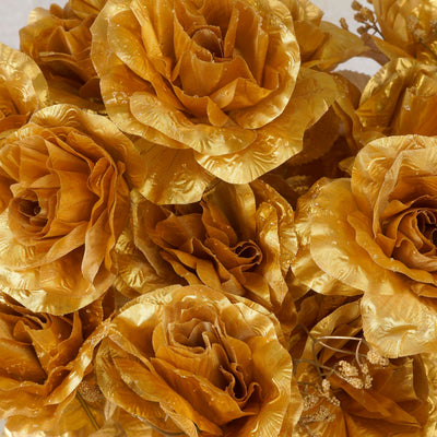 Large Open Rose Bush Artificial Silk Flowers - Gold